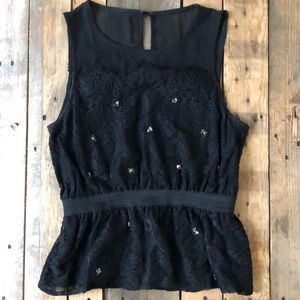 Anthropologie M Sleeveless Lace Blouse with Beads